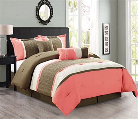 modern 7 piece bedding coral pink brown beige