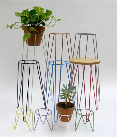 Stand Planter copper metal wire plant stand mid century inspired by