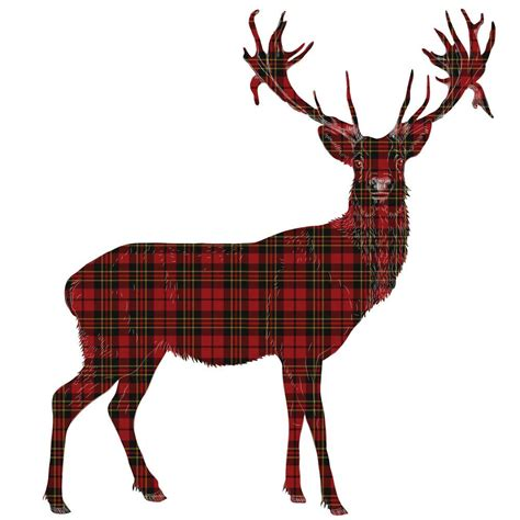 Animal Wall Stickers For Nursery stag tartan wall sticker