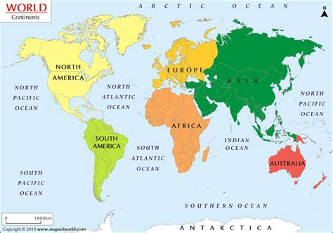 world map of continents what are the 7 continents from to smallest