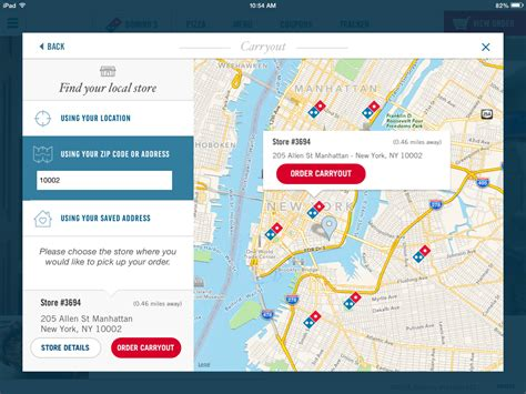 domino pizza map domino s pizza tabpatterns tablet ui patterns