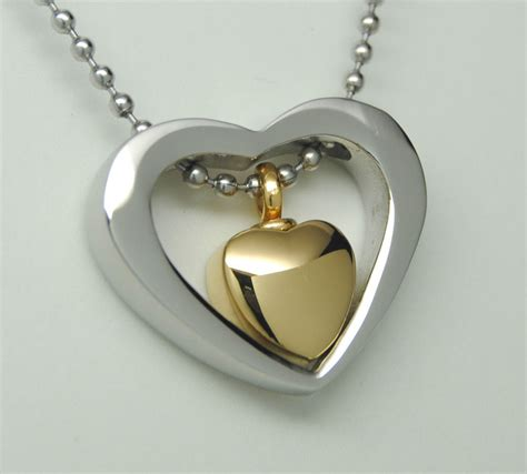 silver gold urn necklace cremation jewelry memorial