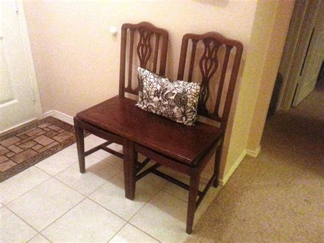 chairs into bench repurpose antique chairs into a bench diy pinterest