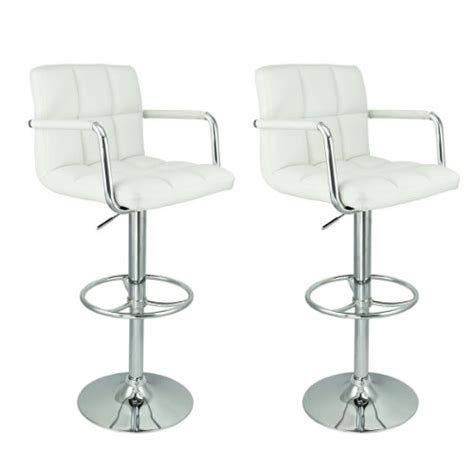 white set of 2 bar stools leather hydraulic swivel apontus pu leather swivel hydraulic bar stool w arms set