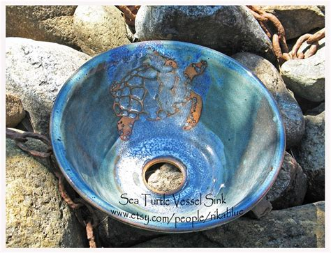 hand thrown pottery sinks sea turtle vessel wheel thrown pottery by rikablue