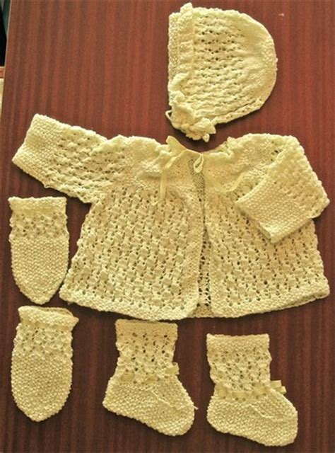 Handmade Knitted Baby Clothes - knitted baby clothes yellow matinee coat hat mitts