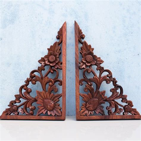 balinese corners lotus flower wooden wall panel headboard closet door decor ebay