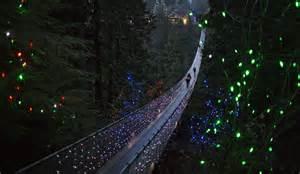 bc lights capilano suspension bridge decorated in lights