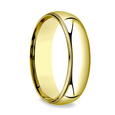Mens Comfort Fit Gold Wedding Bands by Milgrain Comfort Fit S Wedding Band In Yellow Gold 6mm