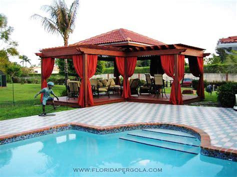 Florida Style Home Plans l shaped pergola deck and drapes florida pergola