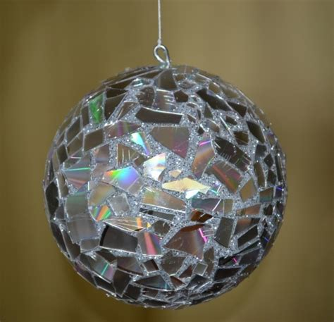 christmas ornament using styrofoam ball and broken cd s i