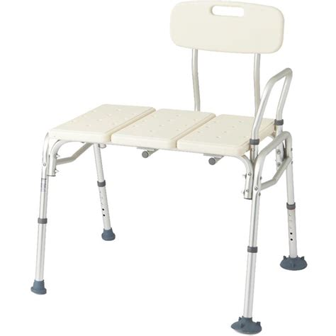 medline aluminum frame transfer bench with back transfer