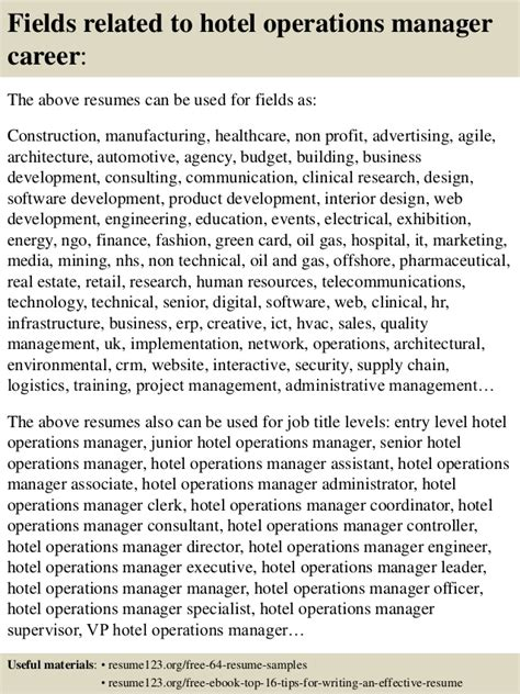 top 8 hotel operations manager resume sles