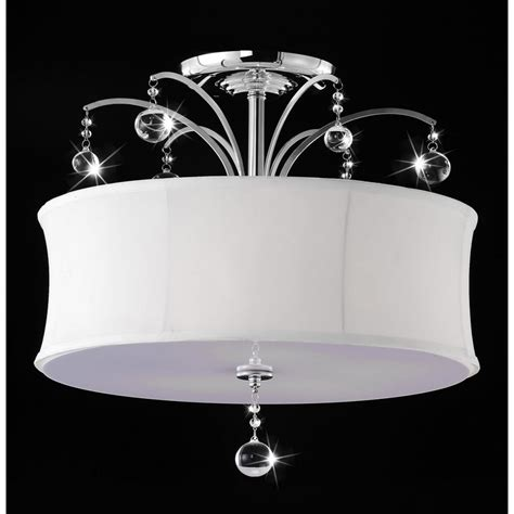 white crystal ceiling ivana crystal 5 light chrome ceiling white shade flush