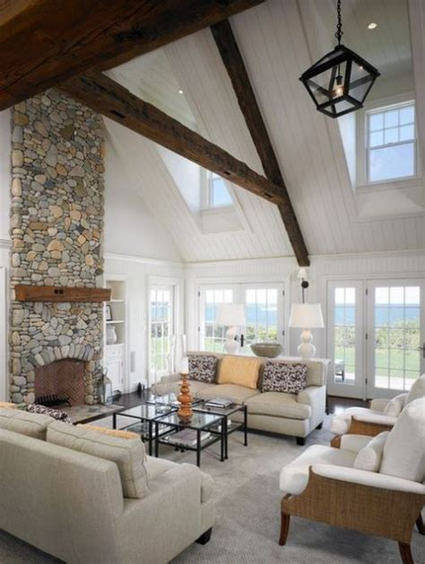 Living Rooms With Exposed Wooden Beams Comfydwelling Com Vaulted Ceiling Living Room Design