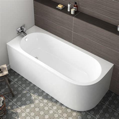 modern bathroom bath corner back to wall bathtub left