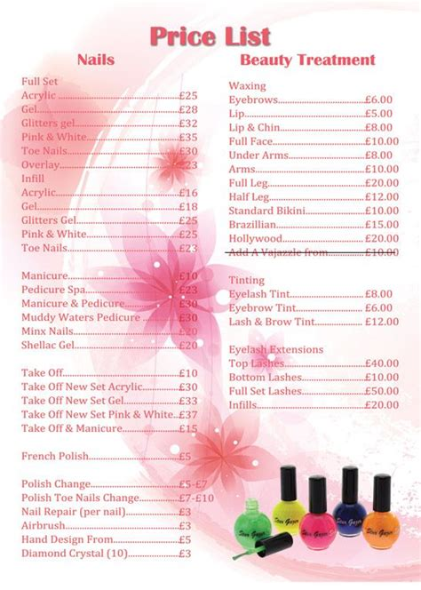 nail salon price list template apple nails in conroe price list price list nail
