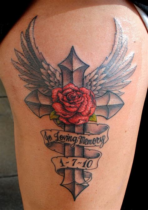 angel and rose tattoo designs memorial cross and ideas tattoomagz