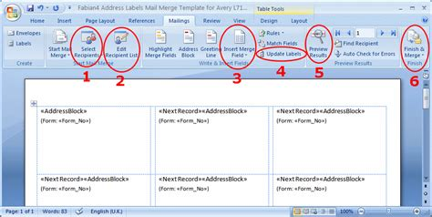 how to create a mail merge template in word 2010 address labels