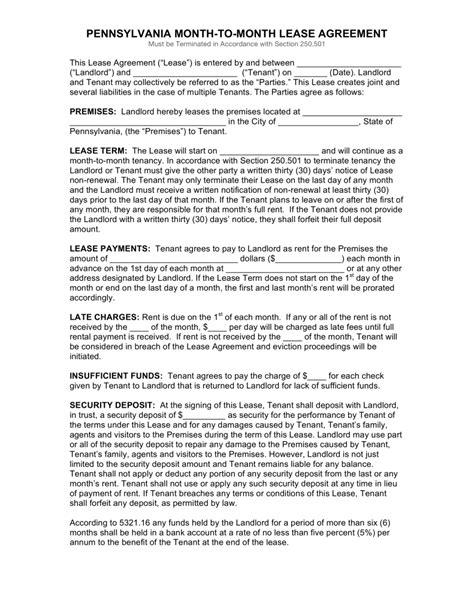 printable pennsylvania lease agreement free pennsylvania month to month rental agreement form