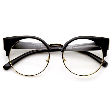 Cat Eye Lens Glasses womens half frame semi rimless clear lens cat eye