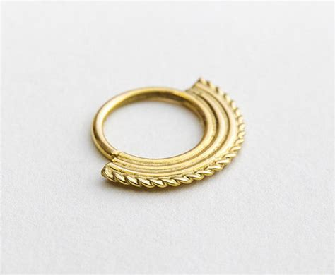 yellow 14k gold nose ring indian nose jewelry primitive gold