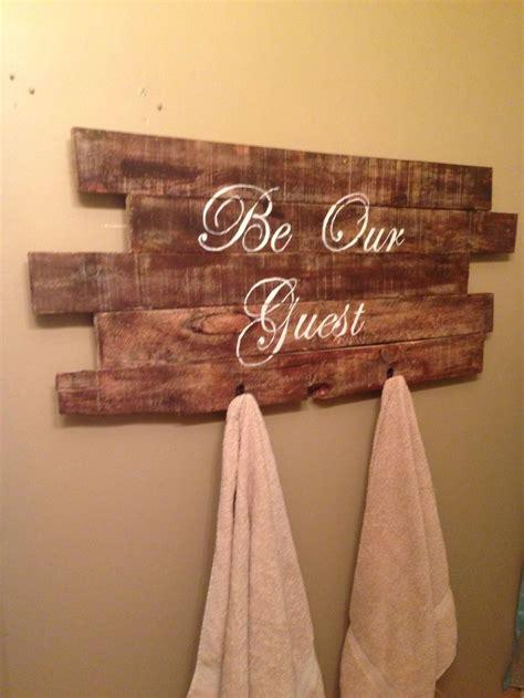 Skyrim Sign Wood Pallet guest bathroom sign towel rack made from pallet wood wood pallet signs
