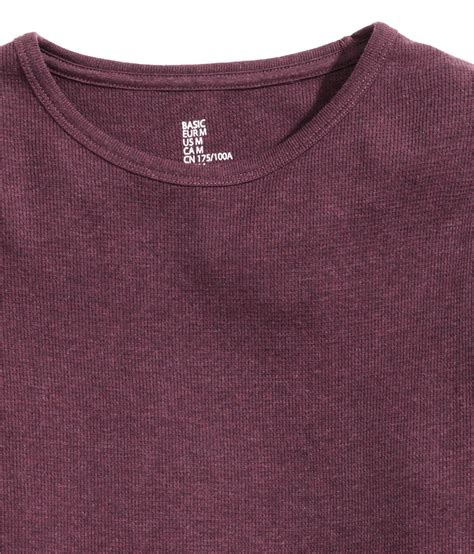 waffle knit shirt lyst h m waffle knit t shirt in purple for
