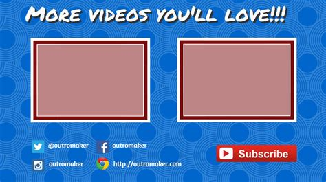outromaker create a youtube outro image template with