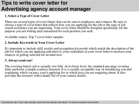 Agency Account Manager Cover Letter by Advertising Agency Account Manager Cover Letter