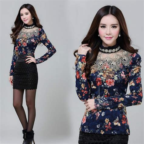 Dress Rauna Rk 043 Size Xxxl autumn floral lace beaded lace shirt sleeve tops clothes in t shirts