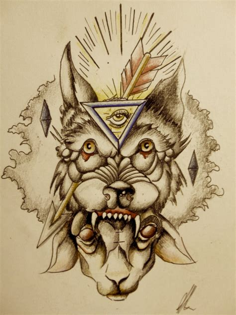 tattoo design old school school wolf design by onichollsart on deviantart
