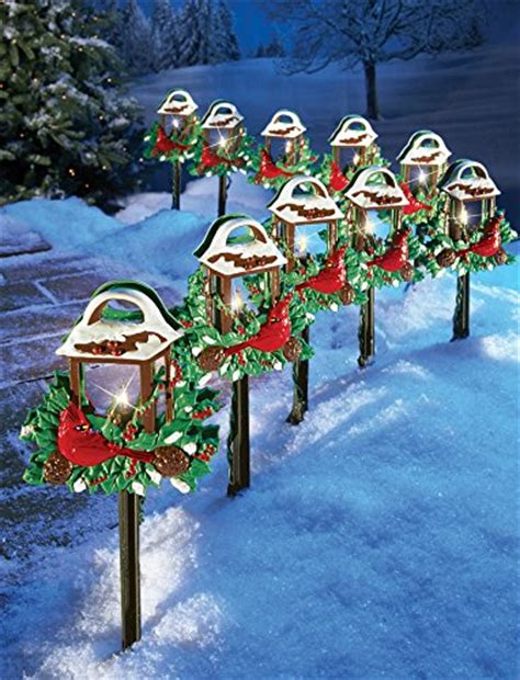 10 pc solar lighted christmas lantern walkway lawn