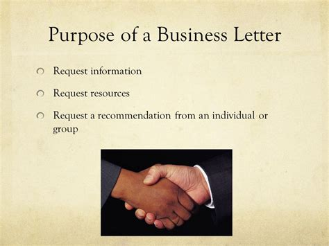 Business Letter Purpose writing a business letter ppt
