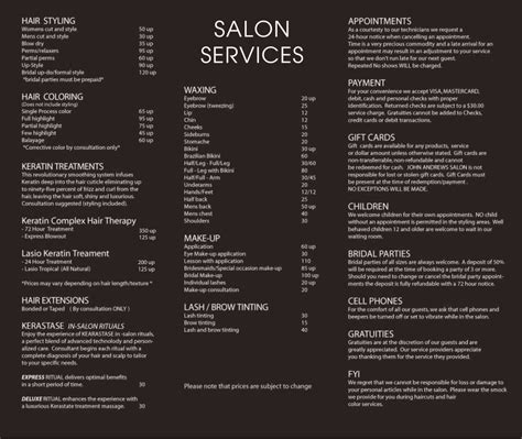 salon menu layout john andrews salon services pinteres