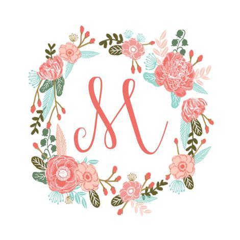 flower design m m monogram girls sweet florals flowers flower wreath girls