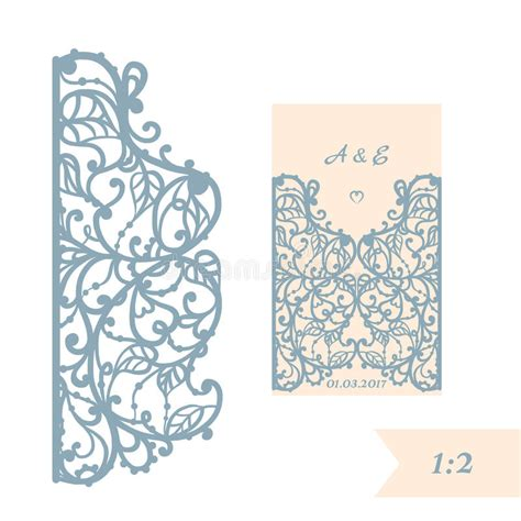 Laser Cut Gate Card Template by Wedding Invitation Or Greeting Card With Abstract Ornament