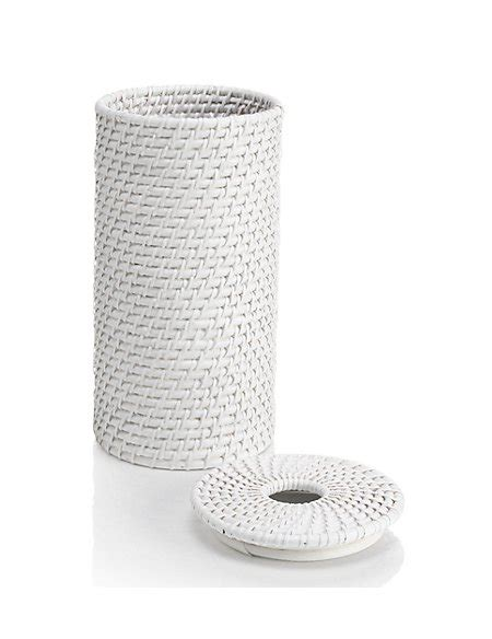 white rattan toilet roll holder ms