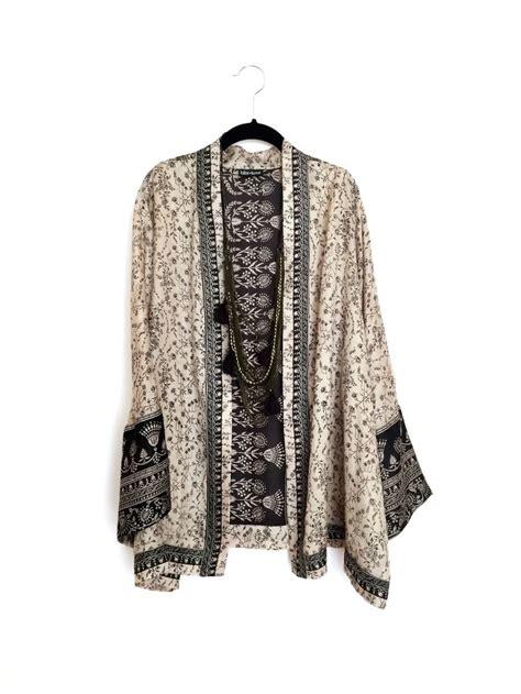 indian pattern kimono silk kimono jacket black and beige paisley indian border