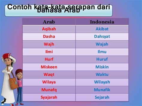 Pembelajaran Bahasa Indonesia Di Perguruan Tinggi kata serapan bahasa arab ke bahasa indonesia