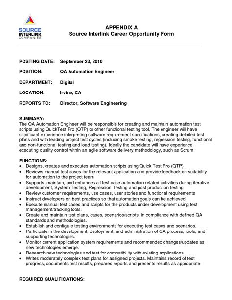 test engineer sle resume backend tester cover letter clinical lab manager cover