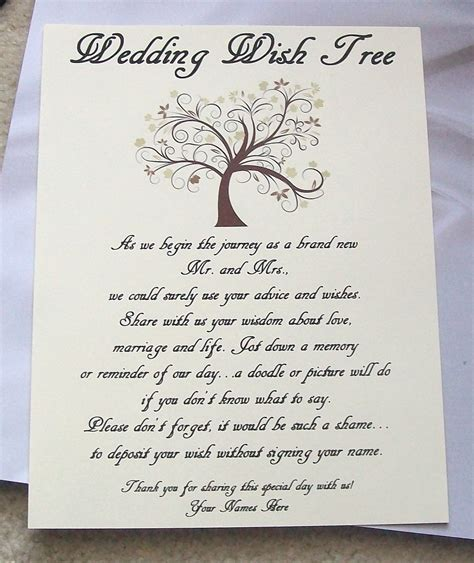 Wedding Wishes Poem by Wish Tree Poem Wedding Ideas