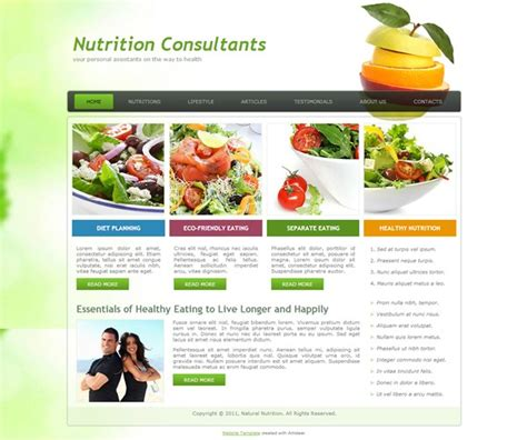 Nutrition Consultants Nutrition Website Templates
