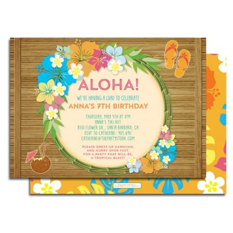 card template hawaian birthday baby shower invitations hawaiian luau baby shower