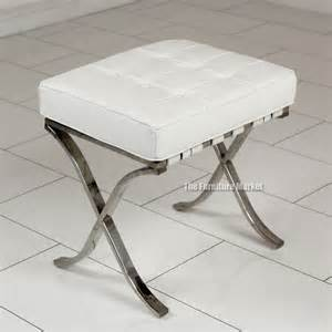 designer white leather dressing table stool