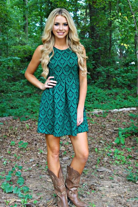 dress to wear with cowboy boots country style teal green dress with taupe cowboy