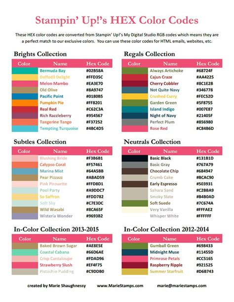 color up hex color codes stin up 2013 2014 pdf stin up and