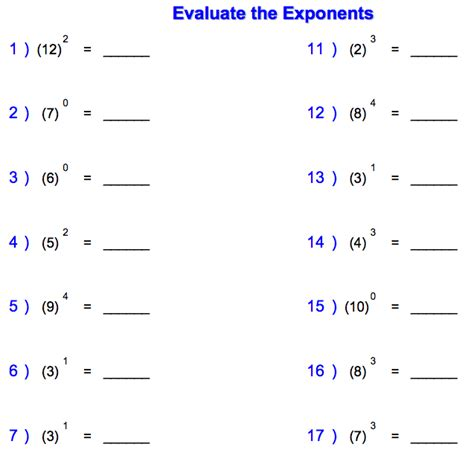 printable math worksheets on exponents powers and exponents worksheet worksheets releaseboard