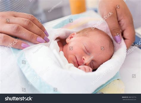 baby section newborn baby girl hospital after csection stock photo