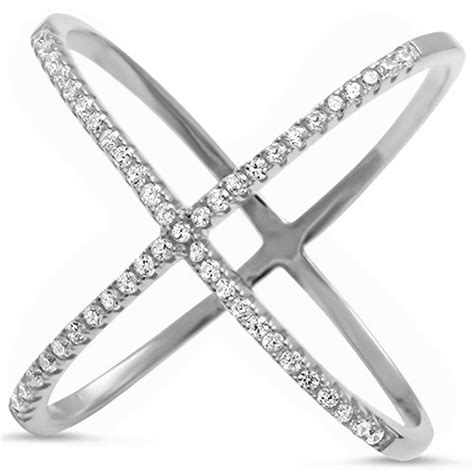 Cz Silver X Ring cz criss cross quot x quot open ring 925 sterling silver ring